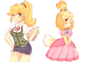 Isabelle and Peach by Anniichu