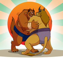 Commission - Sumo Beasts by RetroUniverseArt