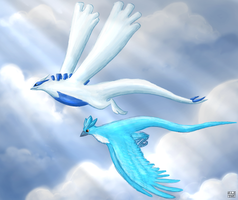Lugia and Articuno by Ziali