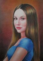 Portrait of a girl in blue. by evlena