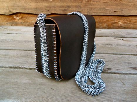 Leather and Chain Mail Bag by CopperTreeDesign