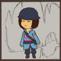 Frisk as Soldier (Undertale/TF2 crossover) by Cinnomnomnom