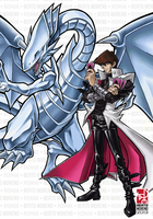 Kaiba and Blue-Eyes White Dragon by Riomak