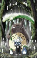 Commission Usagi-Jotaro and Totoro colored by manowolvie