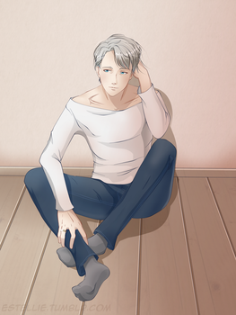 Yuri on Ice: Victor sitting. by Estelly