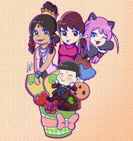 Choromatsu and his dreamed girls Valentine fanart by kuki4982