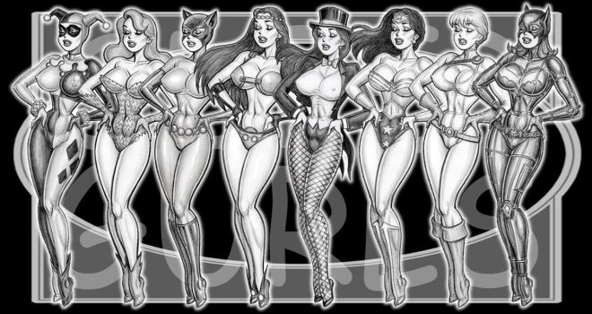 SUPER GURLS 1 girly pinups by GOODGIRLART