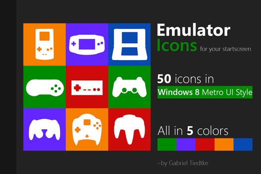UPDATED! 50 Emulator Icons / Tiles for Windows 8! by GTiedtke