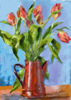 Tulips in Coffee Pot by Kach22