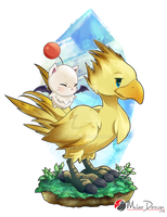 Final Fantasy : Chocobo and Moogle by Milee-Design