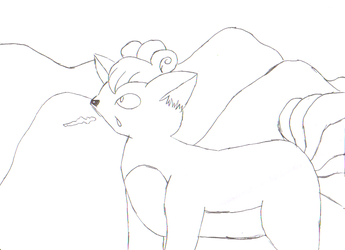 Vulpix in the Snow LineArt by EmuCheeze