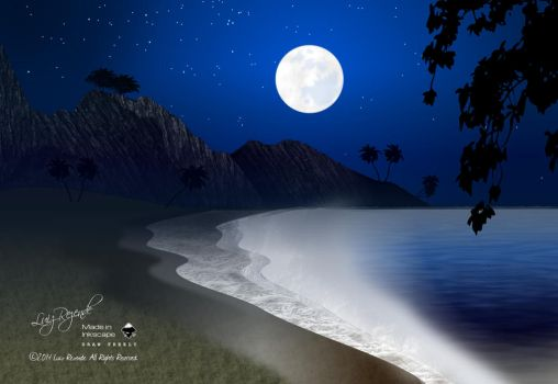 Moonlight on the beach by luizrezende