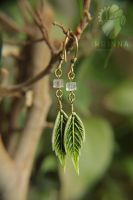 Polymer clay leaf earrings by Krinna