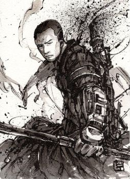 Chirrut from Rogue One Sumi ink by MyCKs