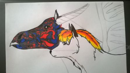 WIP: Two creatures of fire by Morgenfluegel