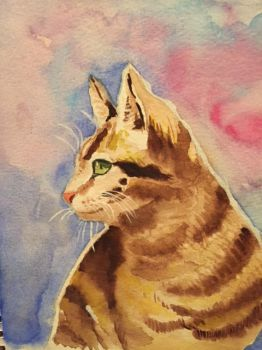 Cat watercolor by LusciousLavender