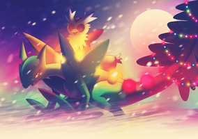 Pokemon Christmas Delivery - Sceptile and Delibird