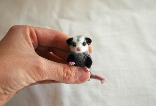 Tiny Needle Felted Baby Opossum by amber-rose-creations