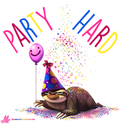 Daily Paint #1006. Party Sloth! by Cryptid-Creations