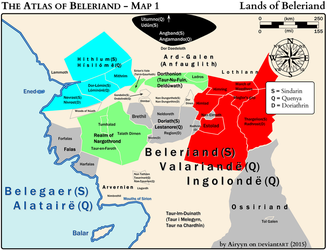 The Atlas of Beleriand - Map 1 by Airyyn