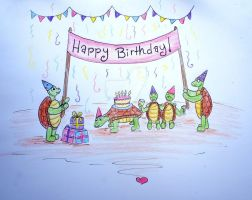 Turtle Happy Birthday Doodle card by Ideas-in-the-sky