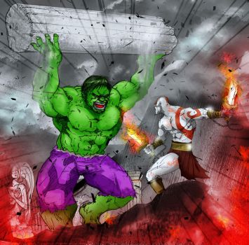 Hulk SMASH Kratos by zenlang