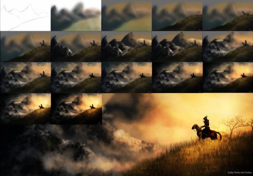 Epic sunlight mountain - Painting Process by Kinan666