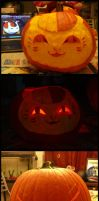 2013 Halloween Pumpkins - Nyanko and Zoro by AnimeGirlMika