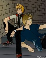 They're late- Roxas and Demyx by Cally-wally