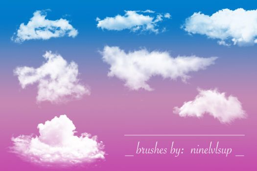 Fluffy Clouds Brushes by ninelvlsup