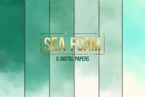Seafoam ombre watercolor and glitter textures by imakestock