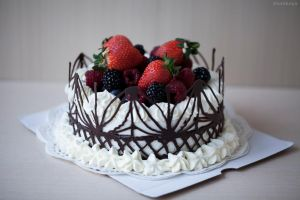 Coconut mousse cake with berries by KLutskaya