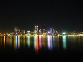 Perth Night Reflections by Moboist