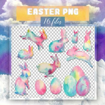 PNG PACK #21: Easter Bunny (watercolor) by lollipop3103
