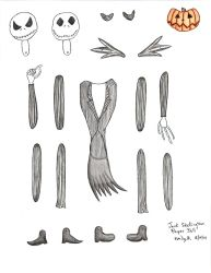 Jack Skellington Jointed Paper Doll - Colored by FroggyDreams