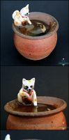 Commission: Maneki Neko Koi Pond Pottery by PepperTreeArt