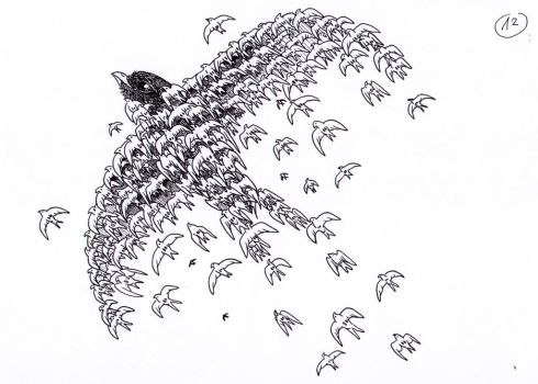 12 - Flock of swifts by Phoeline