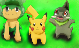 Pansage, Pikachu and Axew