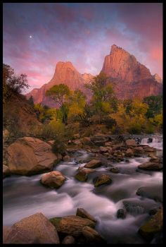 Zion, Moonset by MarcAdamus