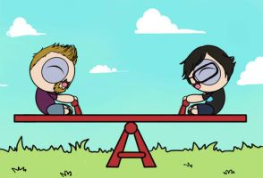 Powerpuff Rhett n Link: see-saw by Chocoreaper