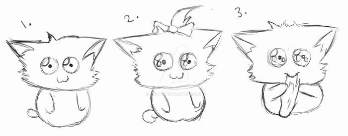 3 Cat sketches by Aklin-X