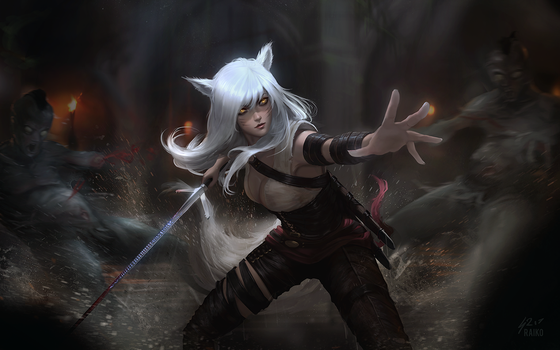 Witcher Ahri by raikoart