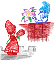Flower for the lady in Red? by Doodlz18