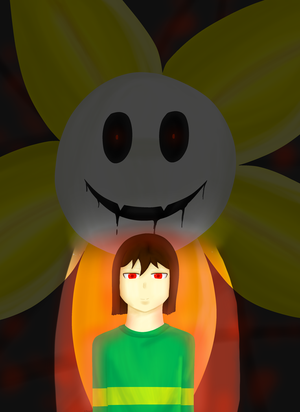 Flowey and Chara (redraw) by Lilienwald