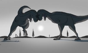 The fighting Bulls - Carnotaurus drawing. by allotyrannosaurus