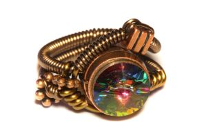 Steampunk Jewelry - Ring - Vitrail Swarovski by CatherinetteRings