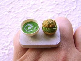 Green Tea And Cream Puff Ring by souzoucreations