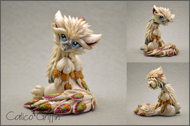 Yuki the Peacock Griffin - polymer clay by CalicoGriffin