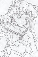 Sailor Moon and Luna Sketch by Wii-Guy12