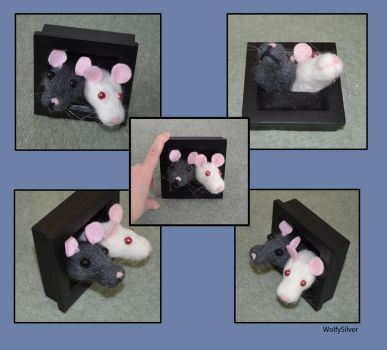 Needle Felted Rat Frame by wolfysilver